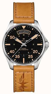 Hamilton Bracelet en cuir marron automatique H64645531
