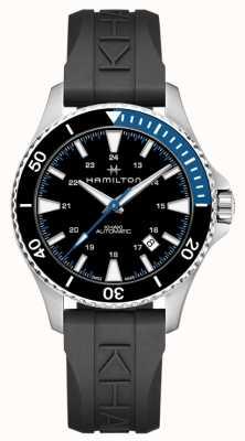 Hamilton Khaki scuba auto noir bracelet en caoutchouc H82315331