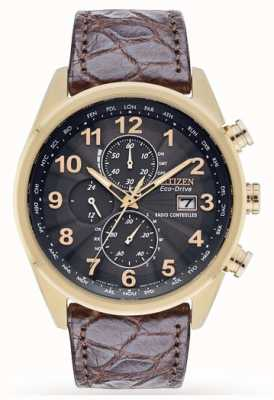 Citizen Bracelet chrono en cuir chrono à édition limitée et contrôlé par radio AT8039-05H