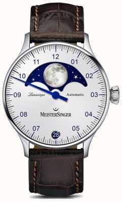 MeisterSinger Pangea lunascope cadran argenté bracelet en cuir marron LS901