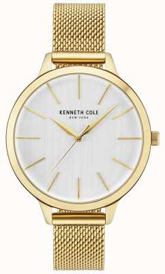 Kenneth Cole Womens or boîtier blanc cadran or bracelet en maille KC15056011