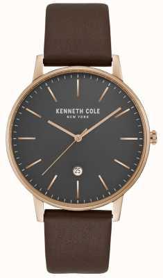 Kenneth Cole Boîtier en or rose pour homme, cadran gris en cuir marron KC50009002