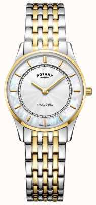 Rotary Womens ultra slim deux tons bracelet mère de téléphone dial LB08301/41