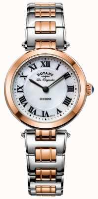 Rotary Womens deux tons lucerne montre blanche cadran LB90187/41