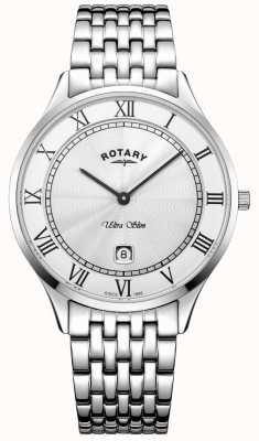 Rotary Montre en acier inoxydable ultra mince cadran blanc en acier inoxydable GB08300/01