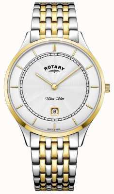 Rotary Montre homme en acier inoxydable ultra mince cadran blanc boîtier en acier inoxydable GB08301/02