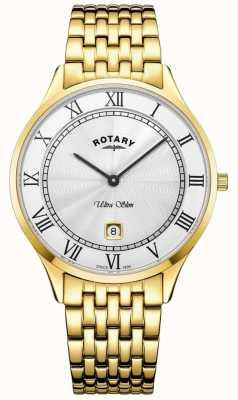 Rotary Montre homme en acier inoxydable ultra mince cadran blanc doré GB08303/01