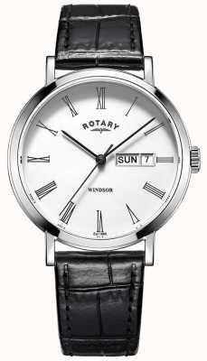 Rotary Montre pour homme en cuir noir ultra mince GS05300/01