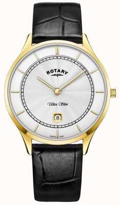 Rotary Montre à bracelet en cuir noir ultra mince pour homme GS08303/02