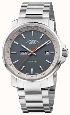 Muhle Glashutte Le 29er tag datum bracelet en acier inoxydable cadran gris montre M1-25-34-MB