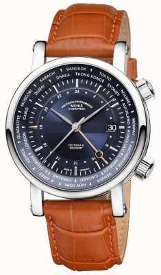 Muhle Glashutte Teutonia II Weltzelt GMT Bracelet en cuir beige Cadran bleu M1-33-82-LB