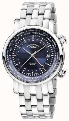 Muhle Glashutte Teutonia II weltzelt gmt bracelet en acier inoxydable cadran bleu M1-33-82-MB