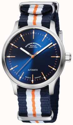 Muhle Glashutte Panova bleu édition limted synthétique bleu bracelet orange M1-40-72-NB