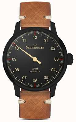 MeisterSinger Bracelet en cuir marron clair à une ligne noire AM902BL