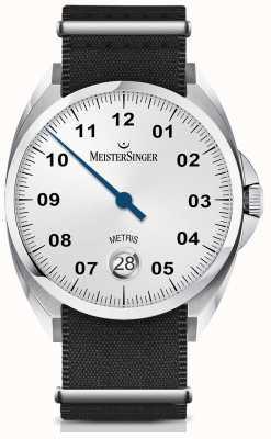 MeisterSinger Metris automatique cadran argenté opaline argent bracelet noir ME901