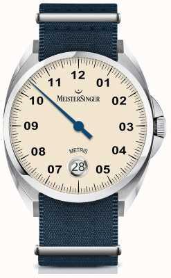 MeisterSinger Metris cadran automatique en ivoire, bracelet en nylon marine ME903