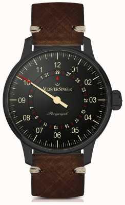 MeisterSinger Perigraph ligne noire automatique bracelet en cuir marron foncé AM1002BL