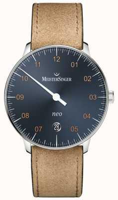 MeisterSinger Bracelet en cuir de cadmium suède cadran bleu acier NE917G