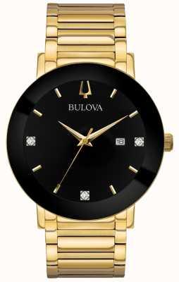 Bulova Montre moderne homme or ton bracelet bracelet cadran noir 97D116