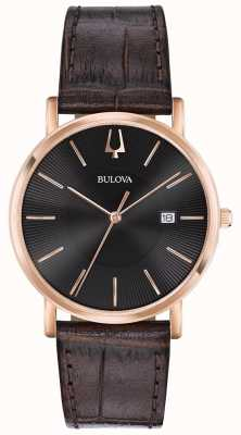 Bulova Montre habillée homme bracelet en cuir marron cadran noir 97B165