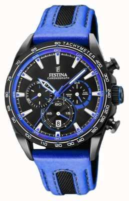 Festina Chronographe sport pour homme bracelet en cuir bleu cadran noir F20351/2
