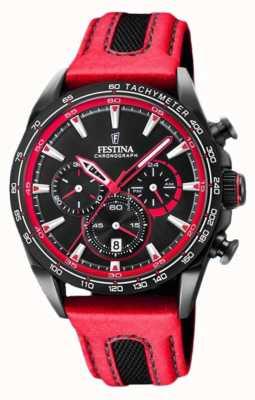 Festina Chronographe sport homme bracelet cuir rouge cadran noir F20351/6