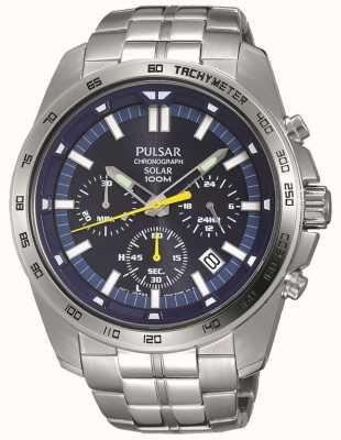Pulsar Bracelet chronographe en acier inoxydable bleu pour homme PZ5001X1