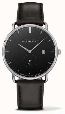 Paul Hewitt Grand quartz atlantique en cuir noir PH-TGA-S-B-2M