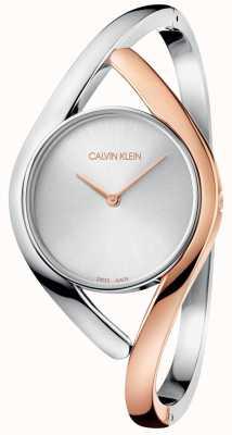 Calvin Klein Mesdames partie deux tons montre en or rose en acier inoxydable K8U2SB16
