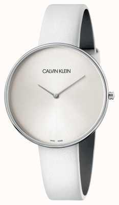 Calvin Klein Montre à cadran blanc en cuir blanc pour femme K8Y231L6