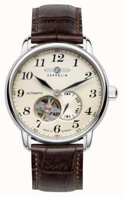 Zeppelin Bracelet en cuir marron automatique série lz127 7666-5