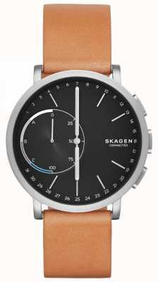 Skagen Montre connectée Hagen avec bracelet en cuir marron cadran noir SKT1104