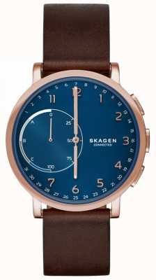 Skagen Montre connectée Hagen avec bracelet en cuir marron cadran bleu SKT1103