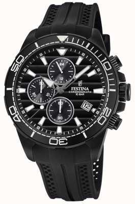 Festina Bracelet en caoutchouc chrono noir avec bracelet plaqué or pour homme F20369/1