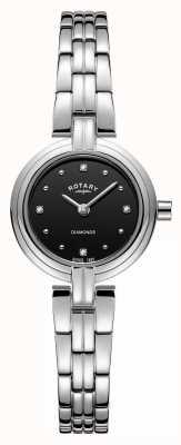 Rotary Bracelet en acier inoxydable avec cadran noir diamants LB00410/15
