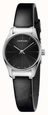 Calvin Klein Cadran noir classique bracelet en cuir noir boîtier en acier inoxydable K4D231CY