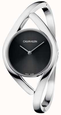 Calvin Klein Parti bracelet en acier inoxydable argent cadran noir K8U2S111