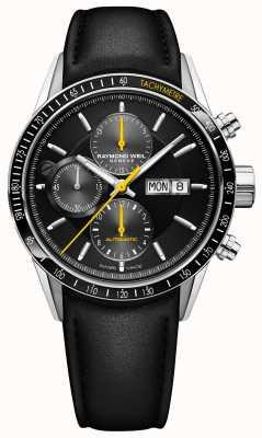 Raymond Weil Bracelet chronographe automatique chronographe pour homme en cuir noir 7731-SC1-20121