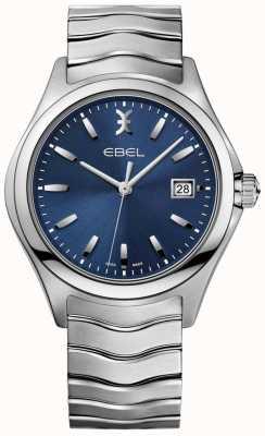 EBEL Hommes montre vague bleu bracelet en acier inoxydable date affichage 1216238
