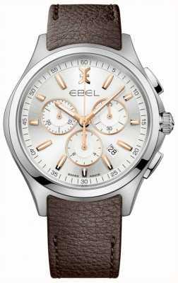 EBEL Homme montre chronographe vague date bracelet en cuir marron 1216341