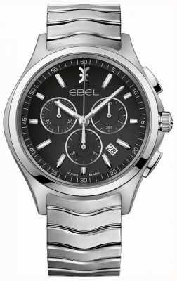 EBEL Chronographe homme cadran noir boîtier en acier inoxydable argenté 1216342