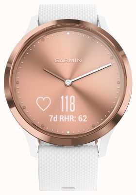 Garmin Vivomove hr activité tracker en caoutchouc blanc cadran en or rose 010-01850-02