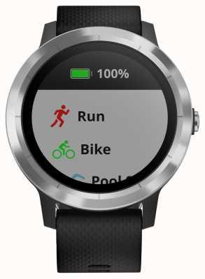 Garmin Vivoactive 3 heures multisport tracker en caoutchouc noir lunette en argent 010-01769-00