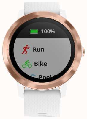 Garmin Tracker multisports Vivoactive 3 heures en caoutchouc blanc doré rose 010-01769-05