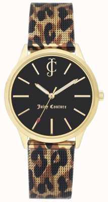 Juicy Couture Montre femme à cadran noir avec bracelet en cuir et imprimé léopard JC-1014GPLE