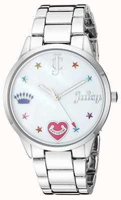 Juicy Couture Montre bracelet en acier argenté pour femme avec marqueurs de couleur JC-1017MPSV