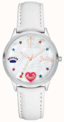 Juicy Couture Montre femme blanche avec bracelet en silcone et marqueurs de couleur JC-1019WTWT