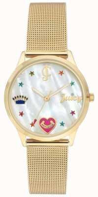 Juicy Couture Montre bracelet en maille doré pour femme avec marqueurs de couleur JC-102WTGB