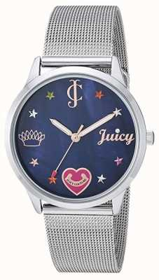 Juicy Couture Bracelet femme en maille d'argent | marqueurs de couleur | cadran bleu JC-1025BMSV