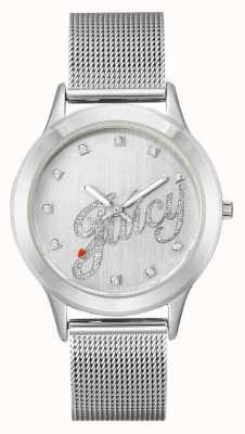Juicy Couture Montre juteuse pour femme avec bracelet en maille de ton argent JC-1033SVSV